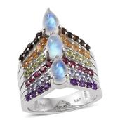 Sri Lankan Rainbow Moonstone, Multi Gemstone Platinum Over Sterling Silver Ring (Size 8.0) TGW 5.80 cts.