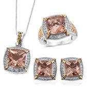 Morganique Quartz, White Topaz 14K YG and Platinum Over Sterling Silver Earrings, Ring (Size 7) and Pendant With Chain (20 in) TGW 26.000 cts.