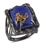 GP Lapis Lazuli, Multi Gemstone 14K YG and Black Rhodium Over Sterling Silver Ring (Size 10.0) TGW 23.00 cts.