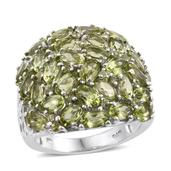 Arizona Peridot Platinum Over Sterling Silver Cluster Ring (Size 6.0) TGW 8.60 cts.