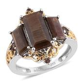 Chocolate Sapphire, Jenipapo Andalusite 14K YG and Platinum Over Sterling Silver Ring (Size 7.0) TGW 6.40 cts.