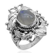 Bali Legacy Collection Sri Lankan Rainbow Moonstone Sterling Silver Ring (Size 7.0) TGW 5.920 cts.