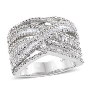 Diamond Platinum Over Sterling Silver Openwork Ring (Size 6.0) TDiaWt 1.49 cts, TGW 1.49 cts.