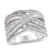 Diamond Platinum Over Sterling Silver Openwork Ring (Size 8.0) TDiaWt 1.49 cts, TGW 1.49 cts.