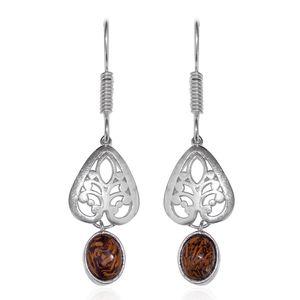 Indian Script Stone Platinum Bond Brass Dangle Earrings TGW 5.50 cts.
