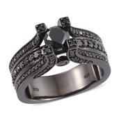 Black Diamond (IR) Black Rhodium Over Sterling Silver Bridge Ring (Size 10.0) TDiaWt 2.50 cts, TGW 2.50 cts.