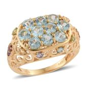 Mint Apatite, Multi Gemstone 14K YG Over Sterling Silver Openwork Ring (Size 5.0) TGW 3.39 cts.