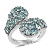 Mint Apatite Platinum Over Sterling Silver Bypass Ring (Size 6.0) TGW 3.60 cts.