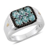 Mint Apatite, Tanzanite, Thai Black Spinel 14K YG and Platinum Over Sterling Silver Men's Signet Ring (Size 13.0) TGW 2.90 cts.