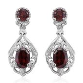 KARIS Collection - Mozambique Garnet Platinum Bond Brass Earrings TGW 2.78 cts.
