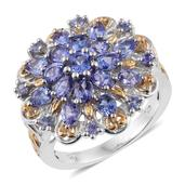 Tanzanite 14K YG and Platinum Over Sterling Silver Ring (Size 7.0) TGW 3.87 cts.