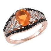Salamanca Fire Opal, Thai Black Spinel, White Zircon 14K RG Over Sterling Silver Ring (Size 7.0) TGW 2.450 cts.
