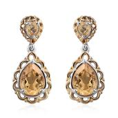 KARIS Collection - Brazilian Citrine ION Plated 18K YG and Platinum Bond Brass Earrings TGW 2.380 Cts.