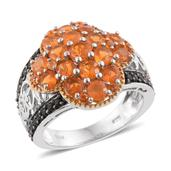 Salamanca Fire Opal, Thai Black Spinel 14K YG and Platinum Over Sterling Silver Ring (Size 8.0) TGW 2.66 cts.