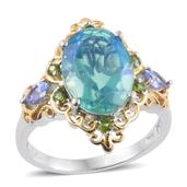 Peacock Quartz, Tanzanite, Russian Diopside 14K YG and Platinum Over Sterling Silver Ring (Size 8.0) TGW 6.95 cts.