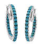 Arizona Sleeping Beauty Turquoise Platinum Over Sterling Silver Inside Out Hoop Earrings TGW 6.04 cts.