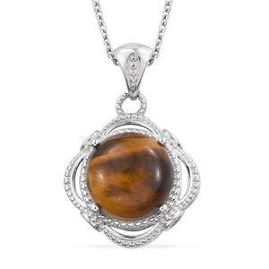 KARIS Collection - South African Tigers Eye, Simulated Yellow Diamond Platinum Bond Brass Pendant With Stainless Steel Chain (20 in) TGW 10.61 cts.