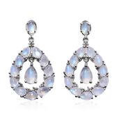 Sri Lankan Rainbow Moonstone, Cambodian Zircon Platinum Over Sterling Silver Dangle Earrings TGW 15.84 cts.