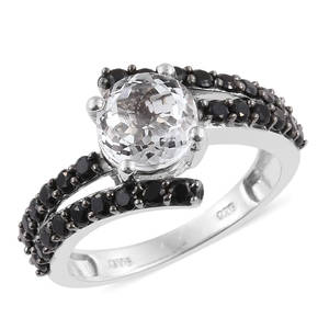 XIA Kunzite, Thai Black Spinel Platinum Over Sterling Silver Ring (Size 5.0) TGW 3.90 cts.