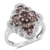 Color Change Garnet Platinum Over Sterling Silver Ring (Size 9.0) TGW 2.900 cts.
