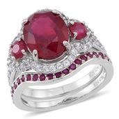 Niassa Ruby, Ruby, White Zircon Sterling Silver Stackable Rings (Size 10.0) TGW 9.67 cts.