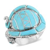 Santa Fe Style Mojave Blue Turquoise Sterling Silver Ring (Size 8.0) TGW 16.500 cts.