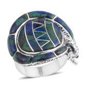 Santa Fe Style Aurora Azurite Sterling Silver Ring (Size 8.0) TGW 18.500 cts.