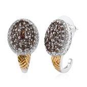 Color Change Garnet, Cambodian Zircon 14K YG and Platinum Over Sterling Silver J-Hoop Earrings Total Gem Stone Weight 3.200 Carat