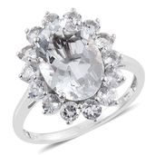 Petalite, White Topaz Platinum Over Sterling Silver Ring (Size 7.0) TGW 6.78 cts.