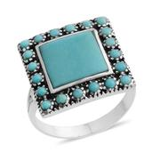 Santa Fe Style Mojave Blue Turquoise Sterling Silver Split Ring (Size 6.0) TGW 2.05 cts.
