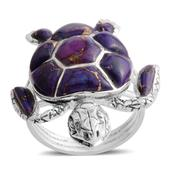 Santa Fe Style Mojave Purple Turquoise Sterling Silver Sea Turtle Ring (Size 9.0) TGW 4.050 cts.