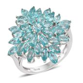 Mint Apatite Platinum Over Sterling Silver Cluster Ring (Size 8.0) TGW 5.12 cts.