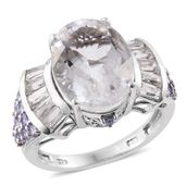 Petalite, Tanzanite, White Topaz Platinum Over Sterling Silver Ring (Size 9.0) TGW 11.19 cts.