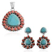 Santa Fe Style Blue Turquoise, Spiny Oyster Shell Red Sterling Silver Earrings and Pendant without Chain TGW 11.80 cts.