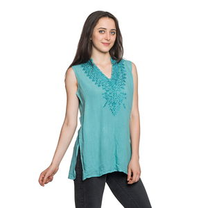 Teal Embroidered 100% Viscose Crepe Sleeveless Top (S/M) (W:18.5in, L:28in)