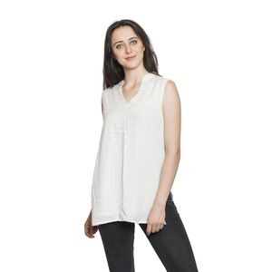 Cream Embroidered 100% Viscose Crepe Sleeveless Top (S/M) (W: 18.5 in, L: 28 in)