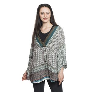 Olive Green 100% Viscose Printed Notched Neck Blouse with Drawstring and Empire Seam Detail (Free Size)