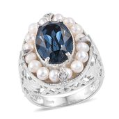 KARIS Collection - Freshwater White Pearl Platinum Bond Brass Ring (Size 7.0) Made with SWAROVSKI Blue Crystal TGW 5.25 cts.