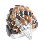 Santa Fe Style Multi Gemstone Sterling Silver Men's Eagle Ring (Size 12.0) TGW 2.751 cts.