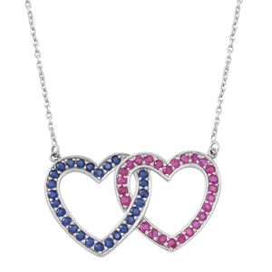 Burmese Ruby, Kanchanaburi Blue Sapphire Sterling Silver Heart Romance Necklace (18 in) TGW 4.16 cts.