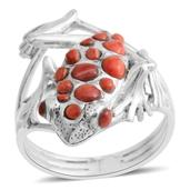 Santa Fe Style Spiny Oyster Shell Red Sterling Silver Frog Ring (Size 9.0) TGW 0.001 cts.