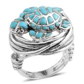 Santa Fe Style Mojave Blue Turquoise Sterling Silver Turtle Ring (Size 6.0) TGW 3.870 cts.