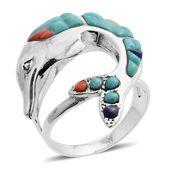 Santa Fe Style Lapis Lazuli, Multi Gemstone Sterling Silver Dolphin Split Ring (Size 7.0) TGW 3.00 cts.
