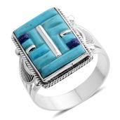 Santa Fe Style Mojave Blue Turquoise, Lapis Lazuli Sterling Silver Ring (Size 13.0) TGW 7.320 cts.