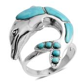 Santa Fe Style Kingman Turquoise Sterling Silver Ring (Size 8.0) TGW 2.250 cts.