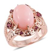Ankur's Treasure Chest Peruvian Pink Opal, Orissa Rhodolite Garnet 14K RG Over Sterling Silver Ring (Size 9.0) TGW 8.950 cts.