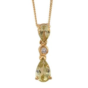 Madagascar Yellow Apatite, White Topaz 14K YG Over Sterling Silver Pendant With Chain (20 in) TGW 1.53 cts.