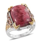 Norwegian Thulite, Jenipapo Andalusite 14K YG and Platinum Over Sterling Silver Ring (Size 7.0) TGW 18.31 cts.