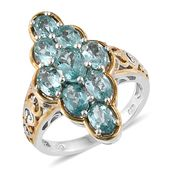 Apatite 14K YG and Platinum Over Sterling Silver Elongated Ring (Size 5.0) TGW 4.66 cts.