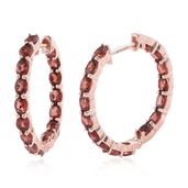 Mozambique Garnet 14K RG Over Sterling Silver Inside Out Huggie Hoop Earrings TGW 6.86 cts.